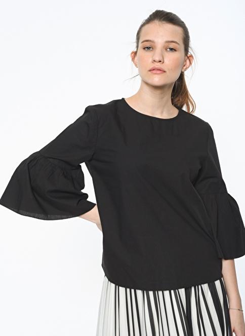 Pieces İspanyol Kol Bluz Siyah